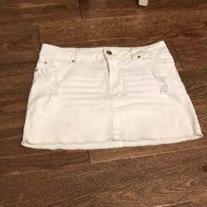 White jean miniskirt